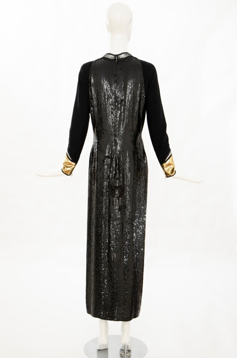 Geoffrey Beene Runway Black Wool Silk Embroidered Sequin Evening Dress,Fall 1992 For Sale 2