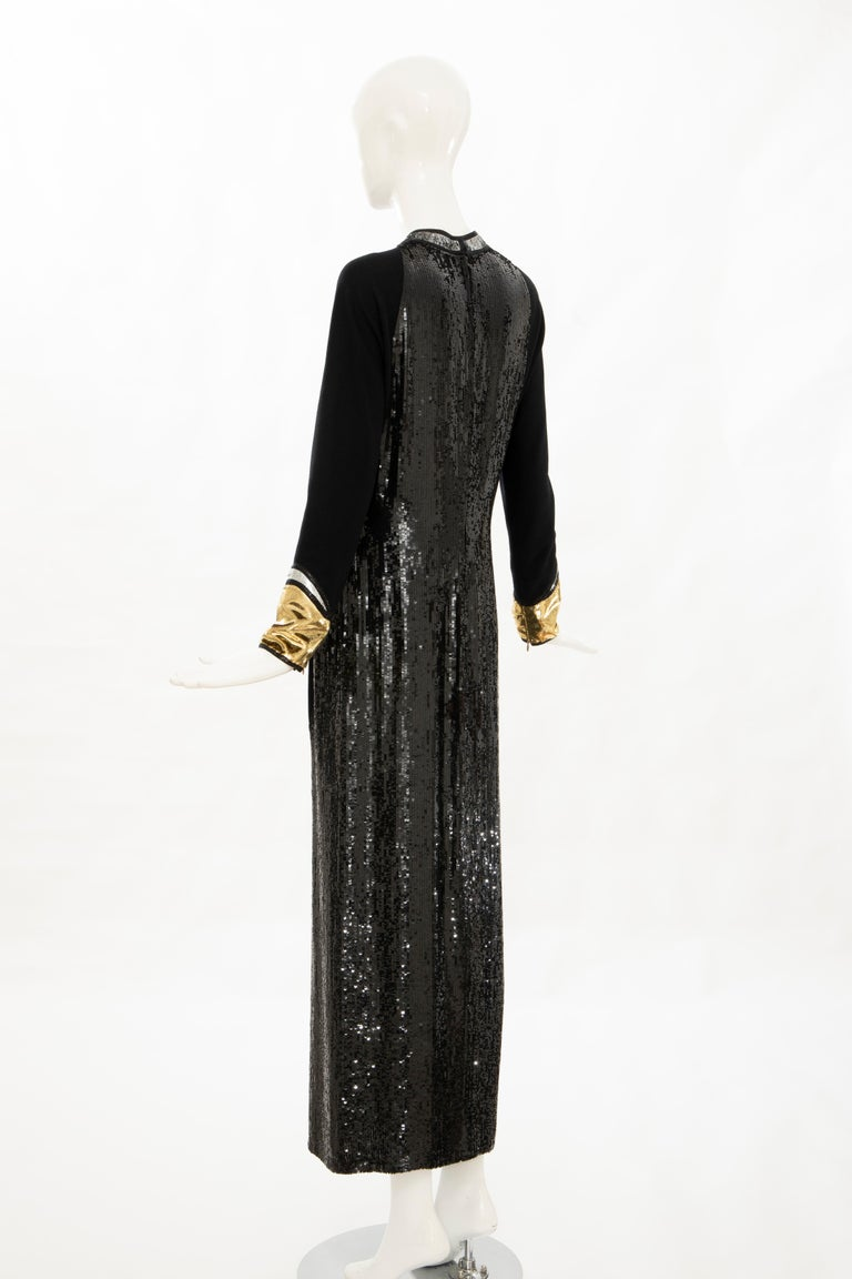 Geoffrey Beene Runway Black Wool Silk Embroidered Sequin Evening Dress,Fall 1992 For Sale 3