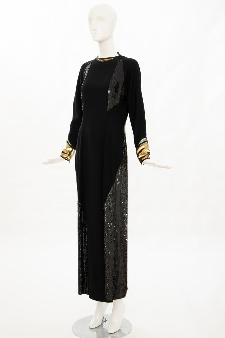 Geoffrey Beene Runway Black Wool Silk Embroidered Sequin Evening Dress,Fall 1992 For Sale 5