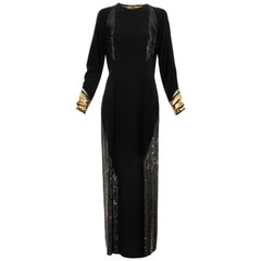 Geoffrey Beene Runway Black Wool Silk Embroidered Sequin Evening Dress,Fall 1992