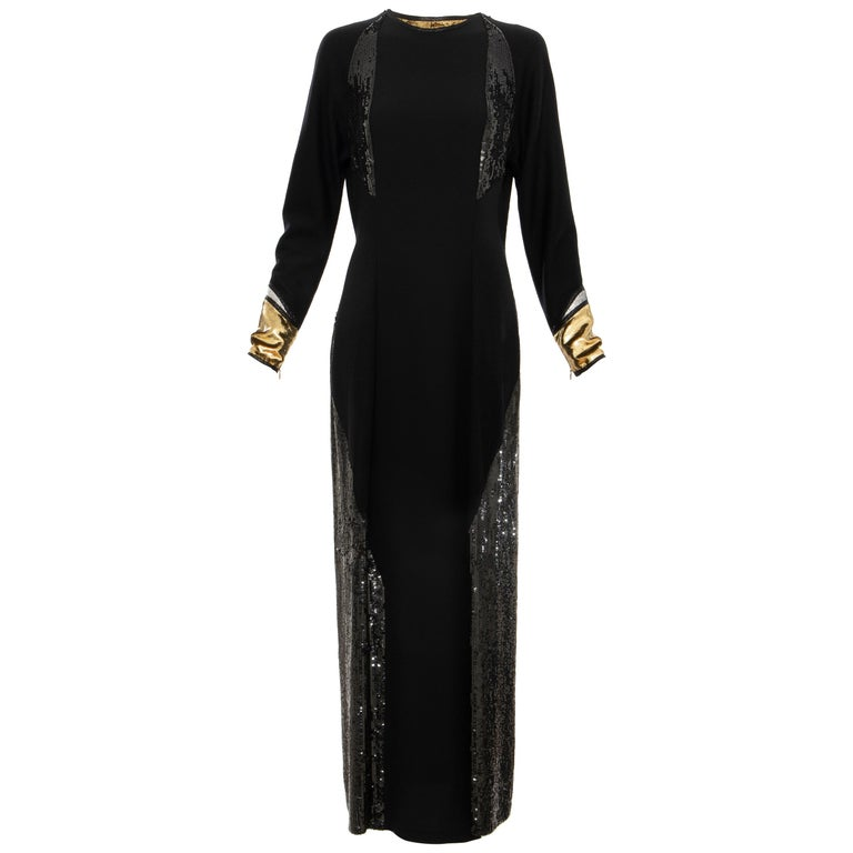 Geoffrey Beene Runway Black Wool Silk Embroidered Sequin Evening Dress,Fall 1992 For Sale