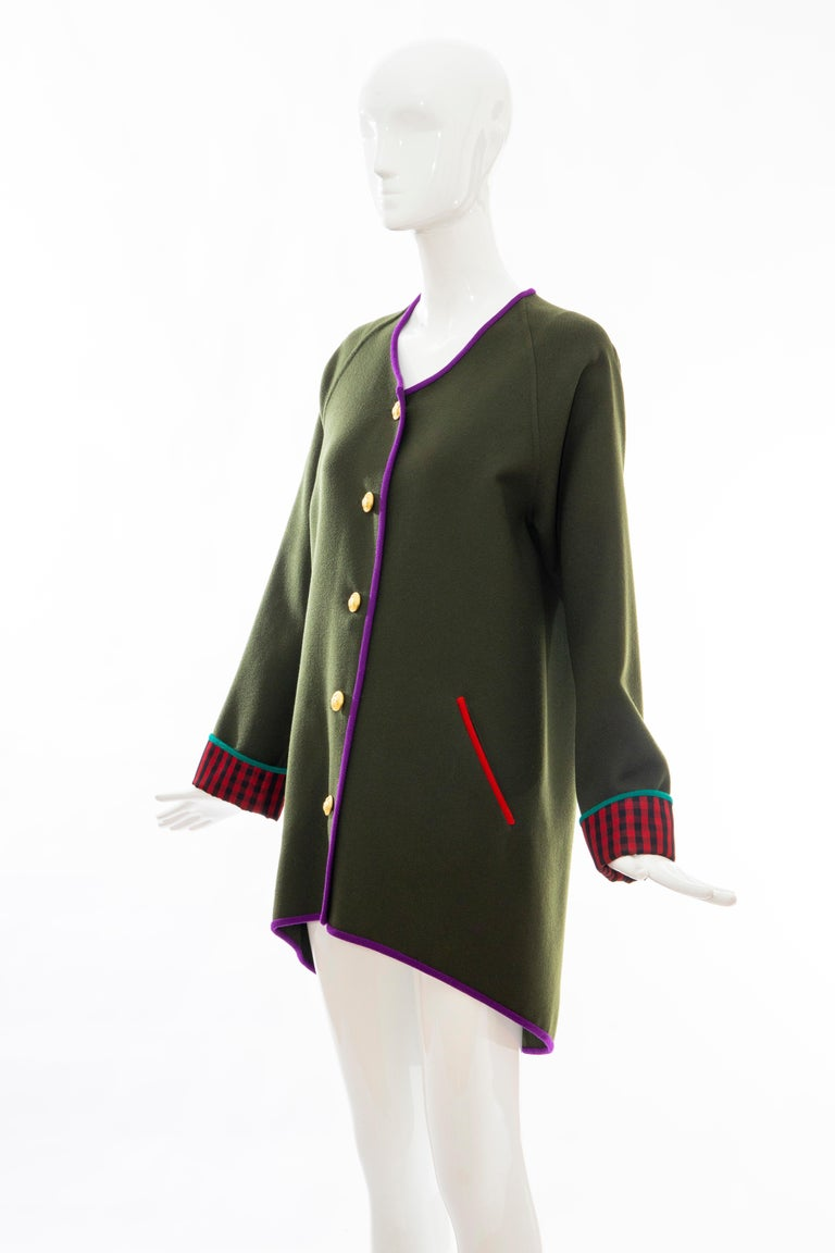 Geoffrey Beene Runway Olive Green Wool Button Front Cutaway Jacket, Fall 1988 For Sale 5
