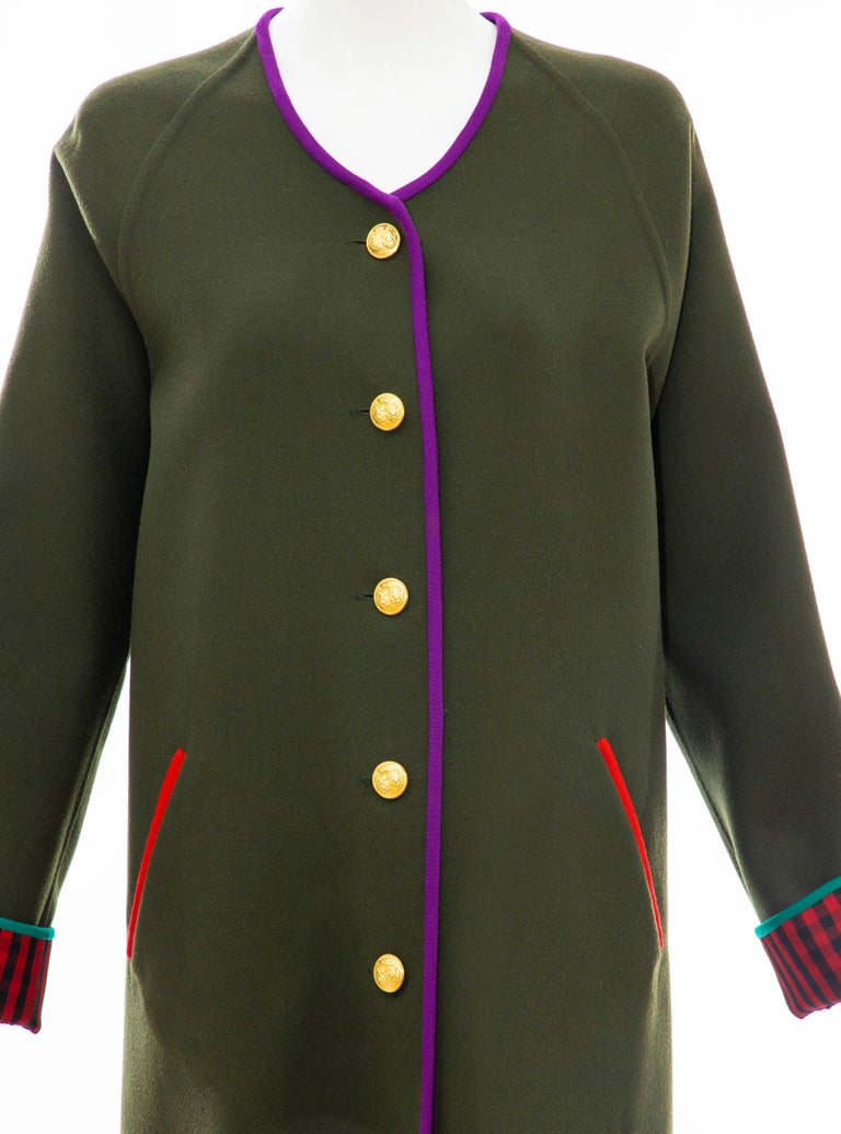 Black Geoffrey Beene Runway Olive Green Wool Button Front Cutaway Jacket, Fall 1988 For Sale