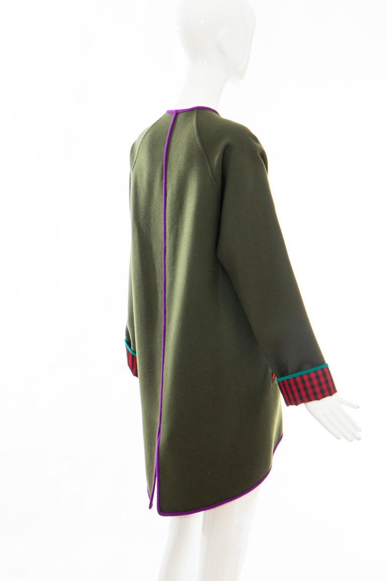 Geoffrey Beene Runway Olive Green Wool Button Front Cutaway Jacket, Fall 1988 For Sale 1