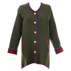 Geoffrey Beene Runway Olive Green Wool Button Front Cutaway Jacket, Fall 1988