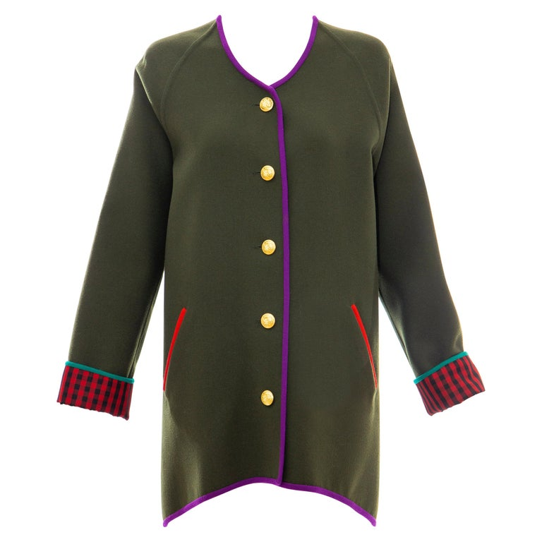 Geoffrey Beene Runway Olive Green Wool Button Front Cutaway Jacket, Fall 1988 For Sale
