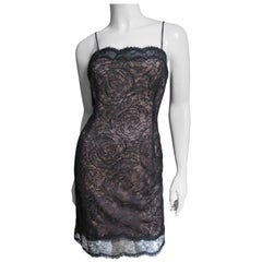 Geoffrey Beene Silk Lace Slip Dress 1980s