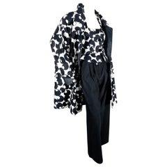 "Geoffrey Beene Spring 1987 Black and White ""Olive"" Print Ensemble w/ Halter Vest"