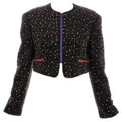 Geoffrey Beene Tweed Polychrome Sequined Bolero Jacket, Spring 1989