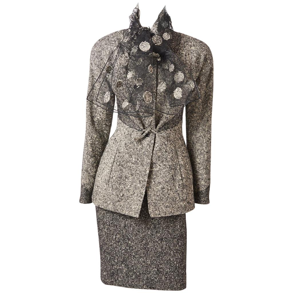 Geoffrey Beene Tweed Skirt Suit with Tulle Scarf
