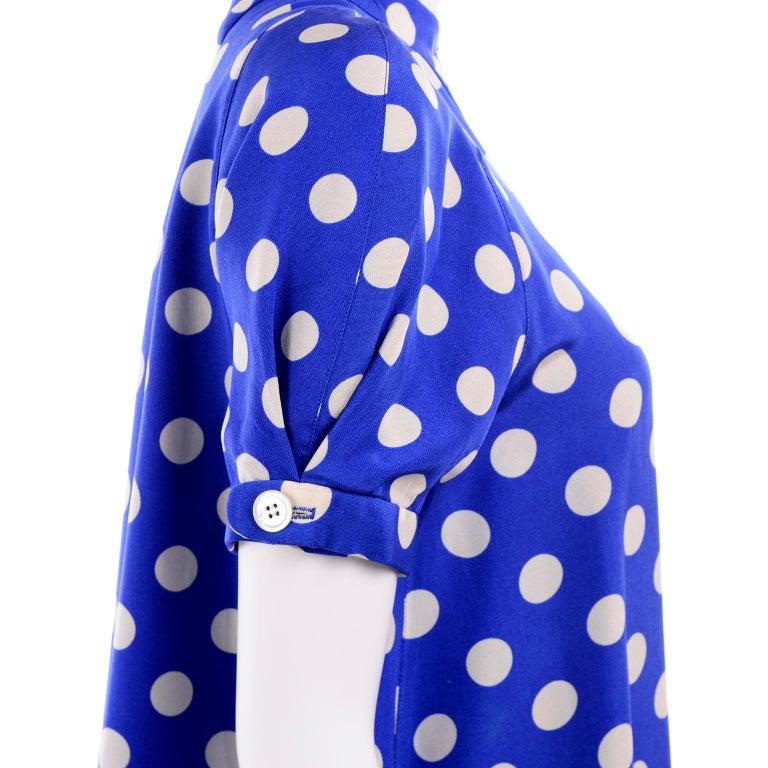Geoffrey Beene Vintage Blue & White Silk Polka Dot Semi Tent Dress Size 6 For Sale 6
