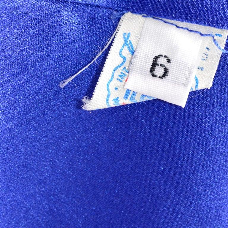 Geoffrey Beene Vintage Blue & White Silk Polka Dot Semi Tent Dress Size 6 For Sale 7