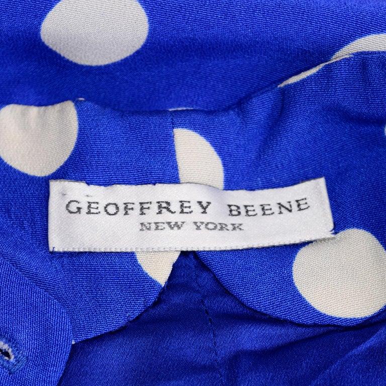 Geoffrey Beene Vintage Blue & White Silk Polka Dot Semi Tent Dress Size 6 For Sale 8