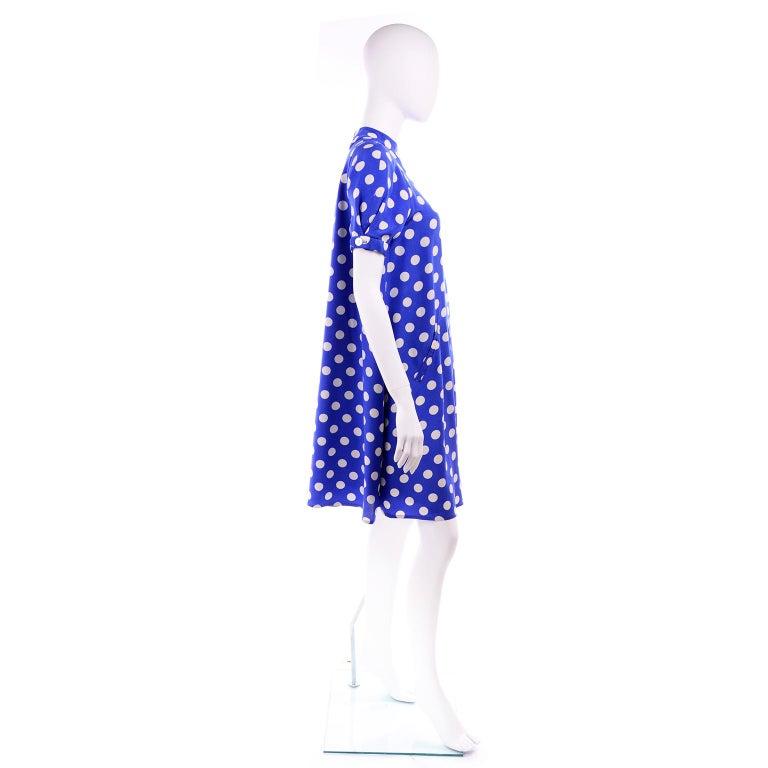 Geoffrey Beene Vintage Blue & White Silk Polka Dot Semi Tent Dress Size 6 For Sale 3