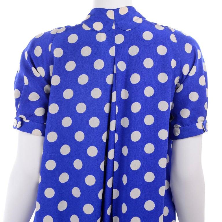 Geoffrey Beene Vintage Blue & White Silk Polka Dot Semi Tent Dress Size 6 For Sale 4