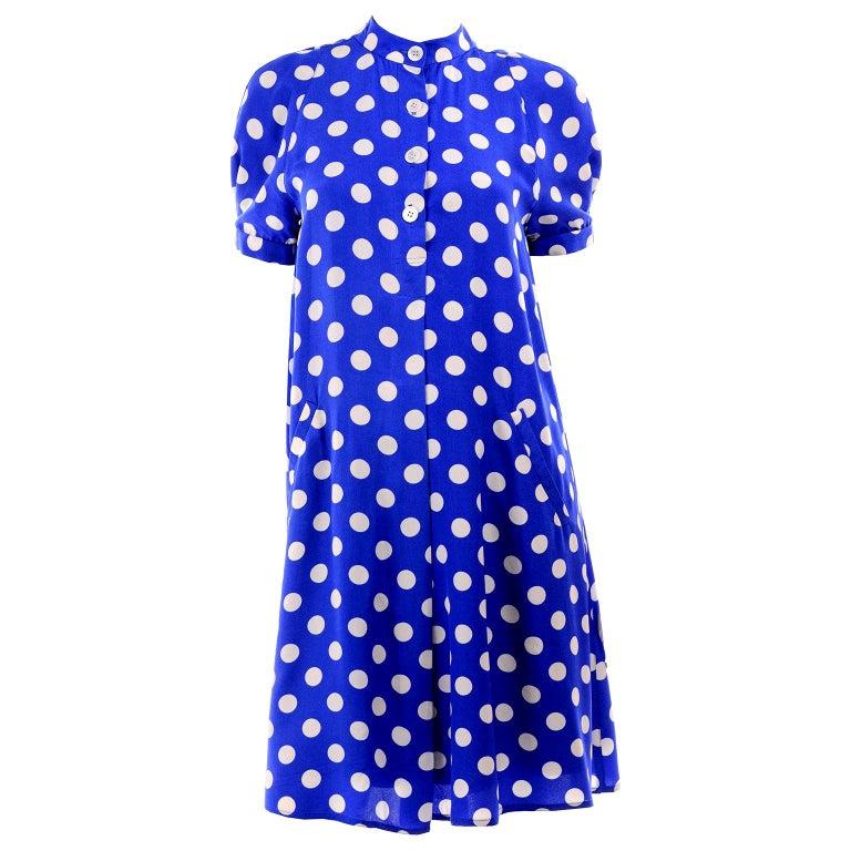 Geoffrey Beene Vintage Blue & White Silk Polka Dot Semi Tent Dress Size 6 For Sale