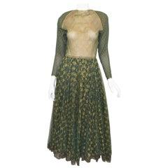 Geoffrey Beene Vintage Green, Gold Gown
