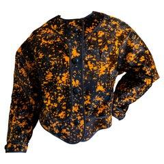 Geoffrey Beene Vintage Orange Splatter Print Ponyhair Jacket
