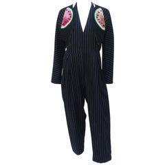 Geoffrey Beene Watermelon Pinstripe Jumpsuit & Bolero