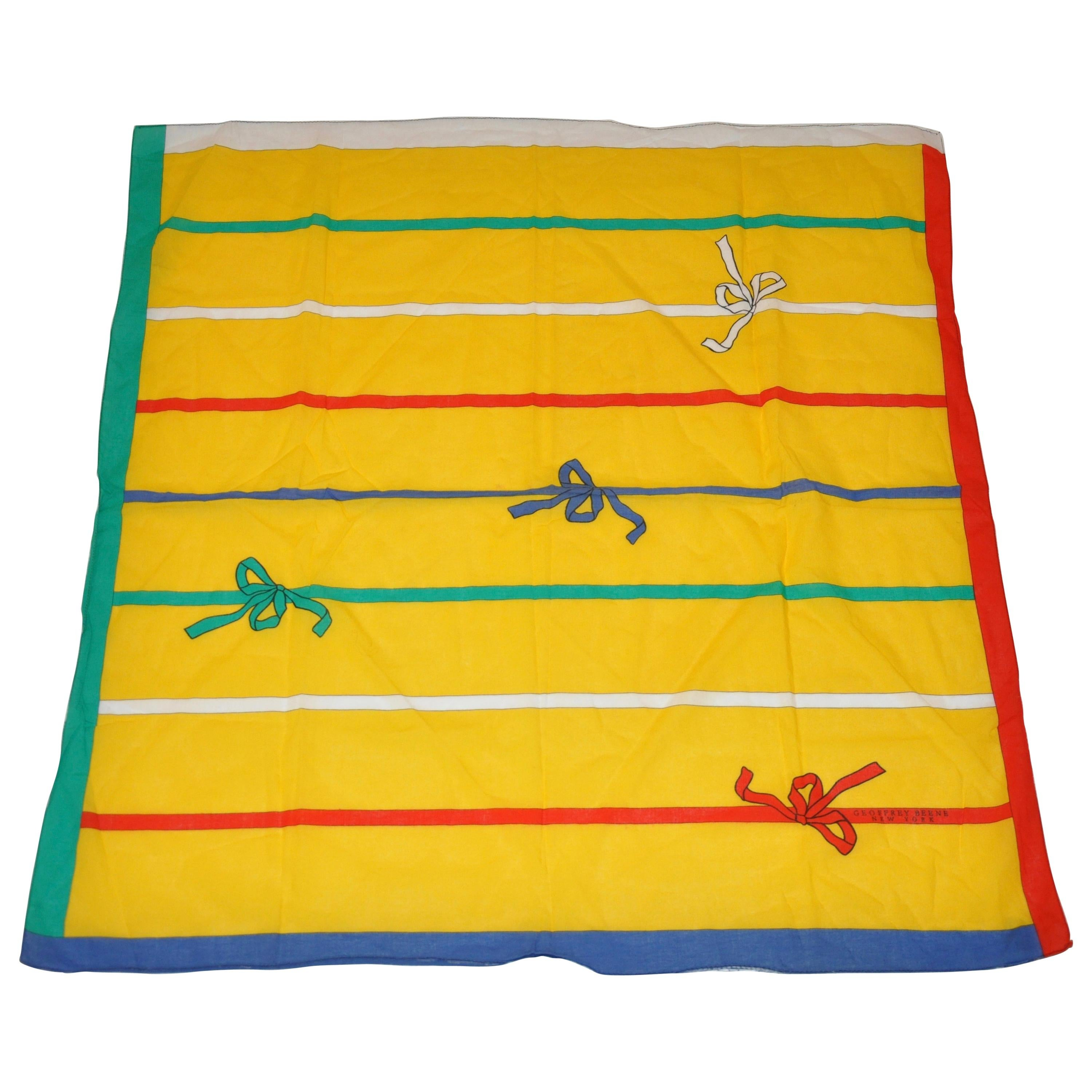 """Geoffrey Beene """"Whimsical Colorful Bows"""" Cotton Scarf"""