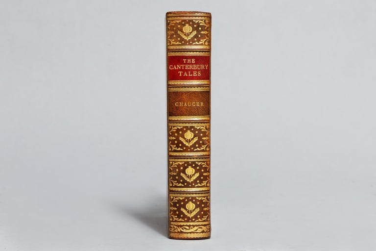 Illustrated in color by W. Russell Flint.  Bound in full tree calf by Riviere, all edges gilt, raised bands, ornate gilt on spine. Published: London: Jonathan Cape & The Medici Society Ltd. 1928.