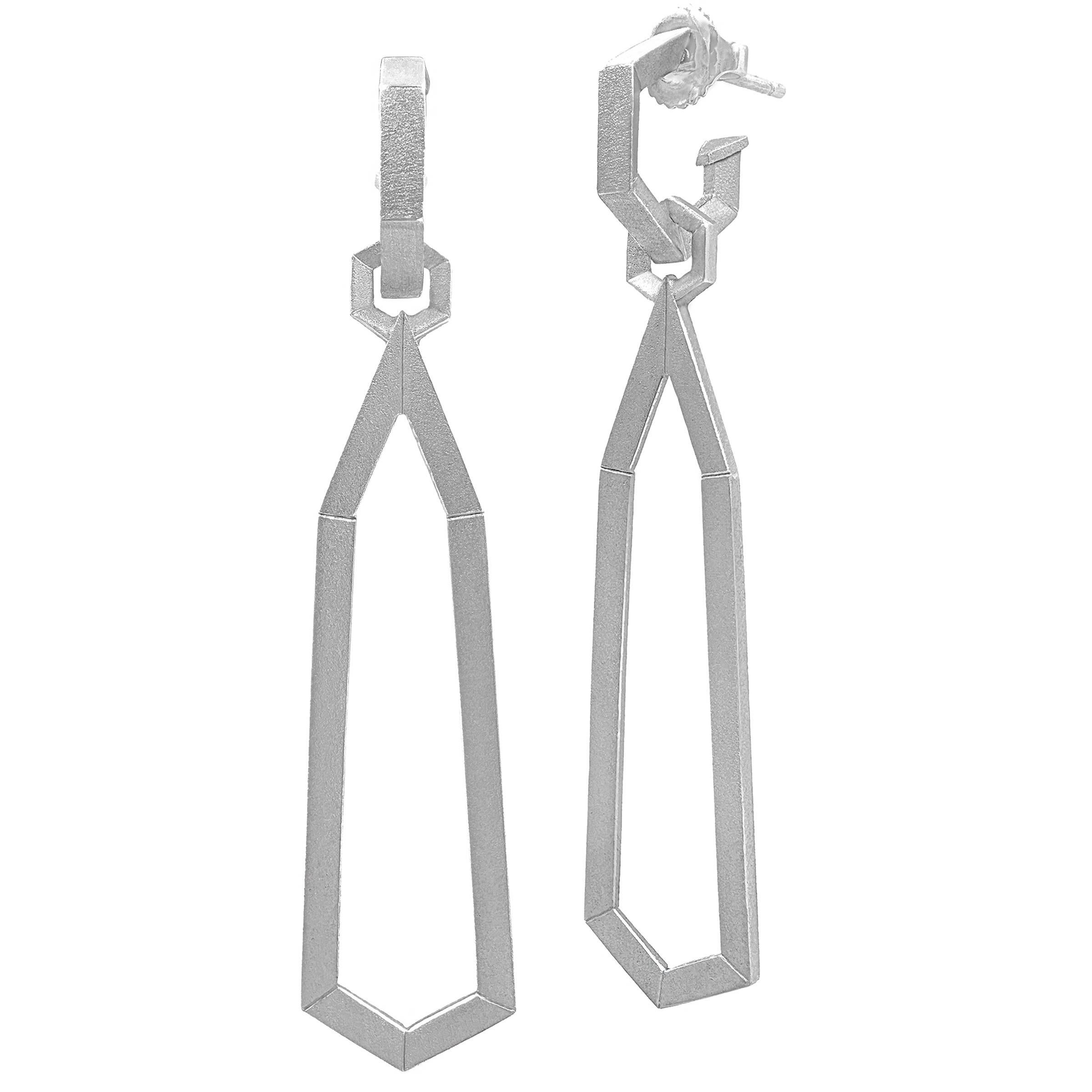 Geoffrey Good Satin Silver Detachable Drop Hex Day and Night Earrings