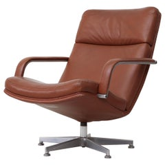 Geoffrey Harcourt F154 Leather Swivel Lounge Armchair