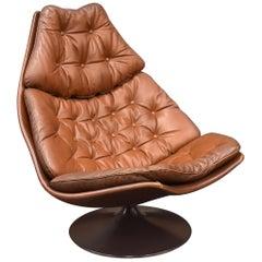 Geoffrey Harcourt F588 Artifort Swivel Lounge Chair in Tan Leather, 1967