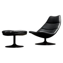 Geoffrey Harcourt for Artifort Leather Swivel Lounge Chair and Ottoman, c. 1980s