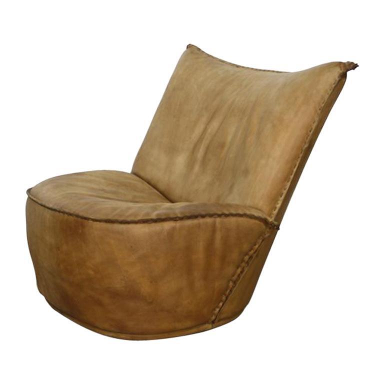 "Geoffrey Harcourt for Artifort ""Model 988"" Cognac Leather Lounge Chair, 1975"