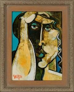 Bold & Bright Contemporary Portrait Painting by Geoffrey Key 'Shadow Head'