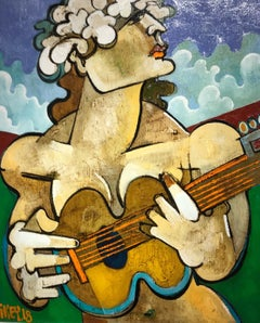 Contemporary Abstract Colourful Portrait Painting 'Flower Girl with Guitar'