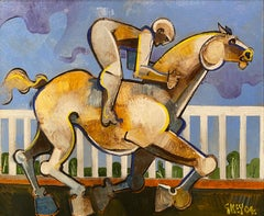 Contemporary Abstract Horse with Rider Painting 'The Rails' Colourful & Vibrant