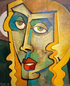'Isolated Head' Figurative Portrait Abstract Cubist painting of a woman