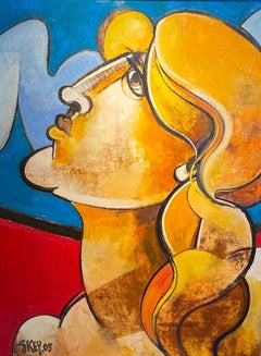 'Sky Watcher' Vibrant Portrait Abstract Cubist Painting of woman, red, orange,