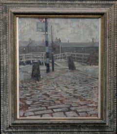 Port Dundas Glasgow - British painting 50s Scotland cobbled street bridge houses