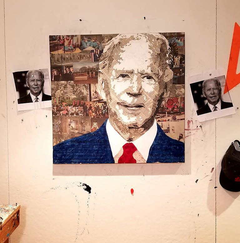 Geoffrey Stein, President Biden, Collage material from the New York Times - Other Art Style Mixed Media Art by Geoffrey Stein