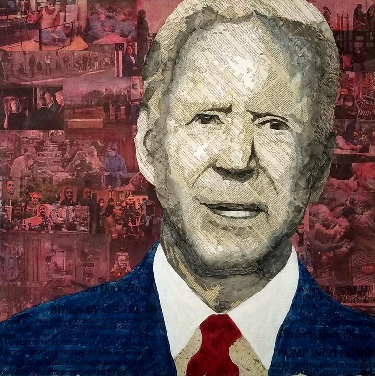 Geoffrey Stein, President Biden, Collage material from the New York Times - Mixed Media Art by Geoffrey Stein