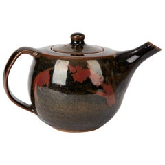 Geoffrey Whiting Tenmoku Glazed Studio Teapot, 20th Century