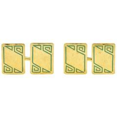 Geoffroy & Co. Art Deco Enamel 14 Karat Gold Men's Cufflinks