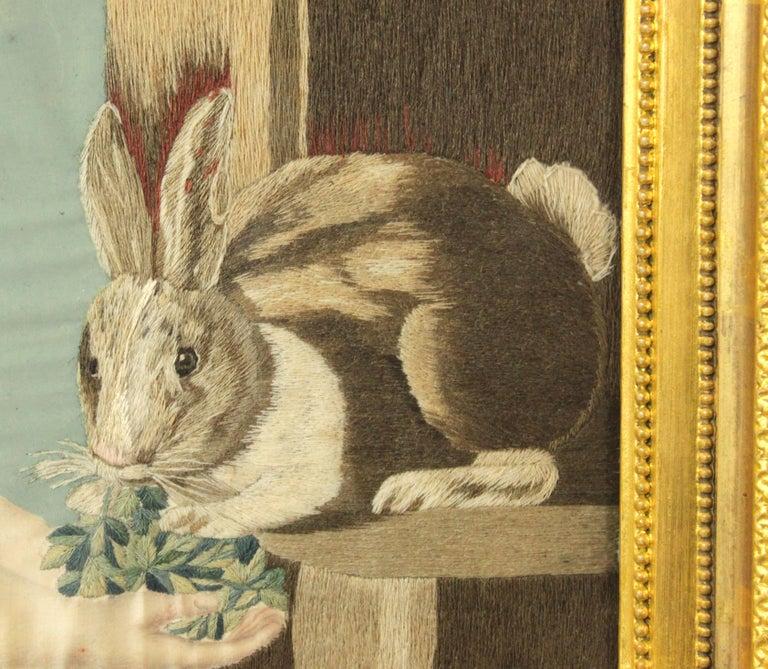 English Geoge III Needlework of a Girl Feeding a Rabbit For Sale