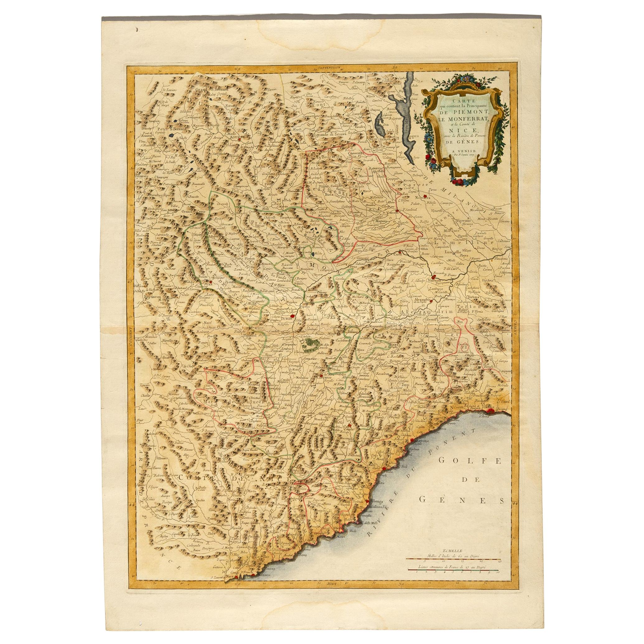 Geographical Antique Map of Principality of Monaco