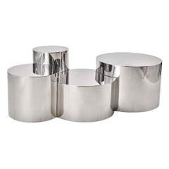Geometria: Cerchi #4 Coffee Table by form A-Polished Steel Version