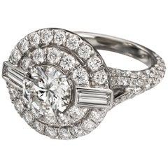 Geometric 3 Carat Round Double Halo Engagement Ring