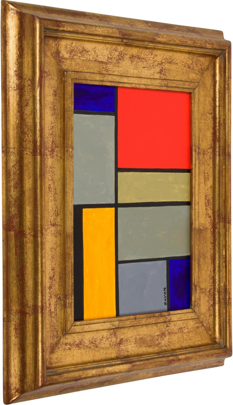 Colorful geometric abstract oil on board by well-listed artist Seymour Zayon.  Seymour Zayon, born in 1930, is a contemporary Philadelphia area painter known for his colorful geometric abstract compositions, mixed media and still life paintings.