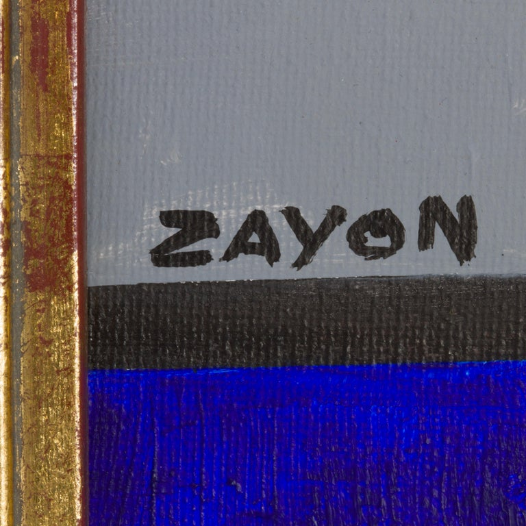 North American Geometric Abstract Oil on Board by Seymour Zayon For Sale