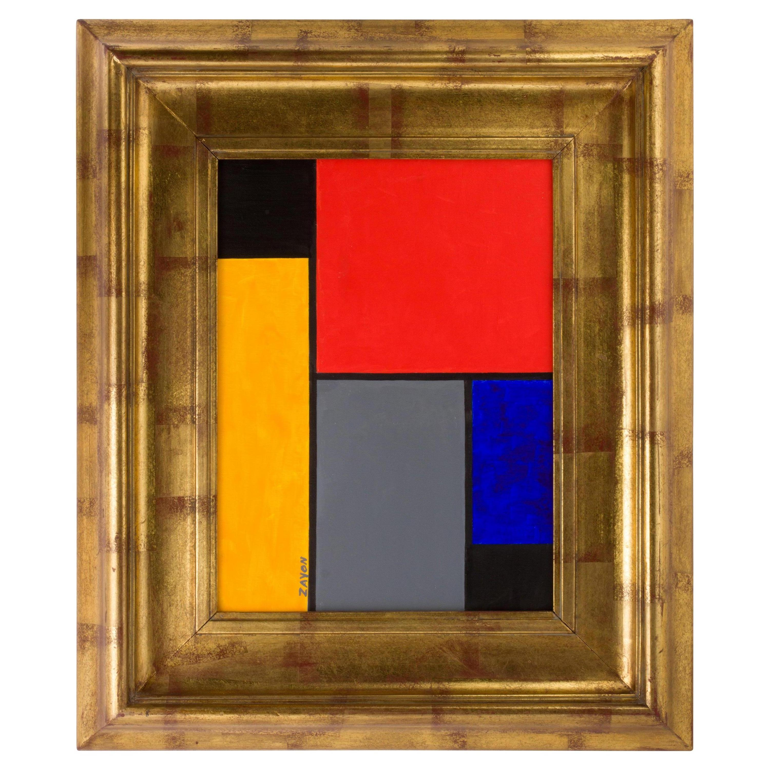 Geometric Abstract Oil on Board by Seymour Zayon