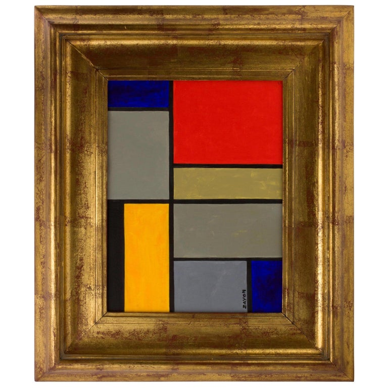 Geometric Abstract Oil on Board by Seymour Zayon For Sale