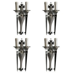 Geometric Art Deco Aluminum Candle Wall Sconces