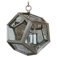 Geometric Art Deco Pendant Cast in Bronze, Antique Silver Patina